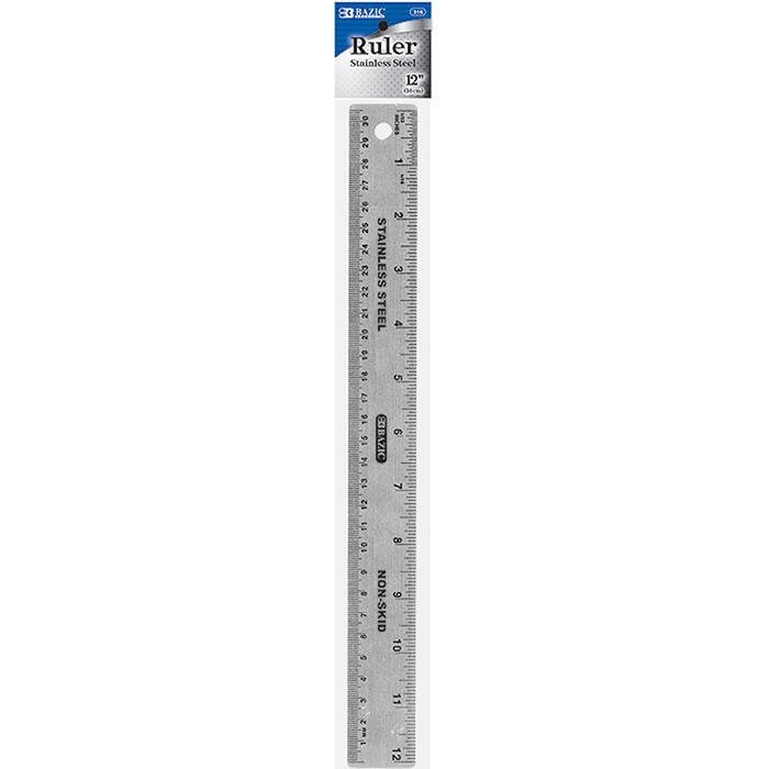 """BAZIC 12"""" (30cm) Stainless Steel Ruler w/ Non Skid Back - image 1 of 1"""