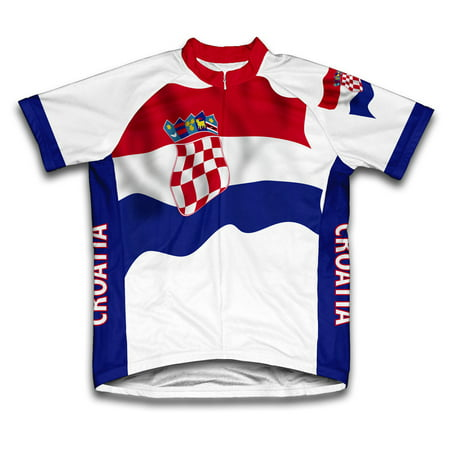 Croatia Flag Short Sleeve Cycling Jersey  for Men - Size