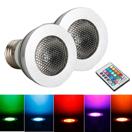 Zimtown 2-Pack E27 5W RGB Light Bulb 85-265V LED Magic Lamp Bulb + IR Remote Control, 16 Colors Changing Dimmable RGB LED Light