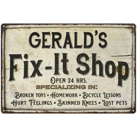 UPC 786359110606 product image for GERALD'S Fix-It Shop Sign Grandpa Dad Wall Décor Gift 8x12 Metal 208120006061 | upcitemdb.com