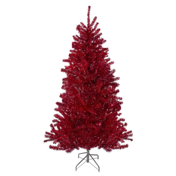 6' Metallic Red Tinsel Artificial Christmas Tree - Unlit ...