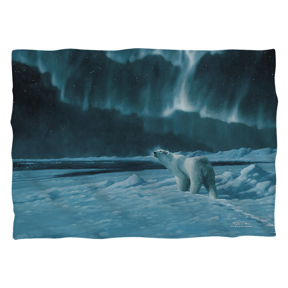 Wild Wings Polar Night Light 2 Poly 20X28 Pillow Case White One Size