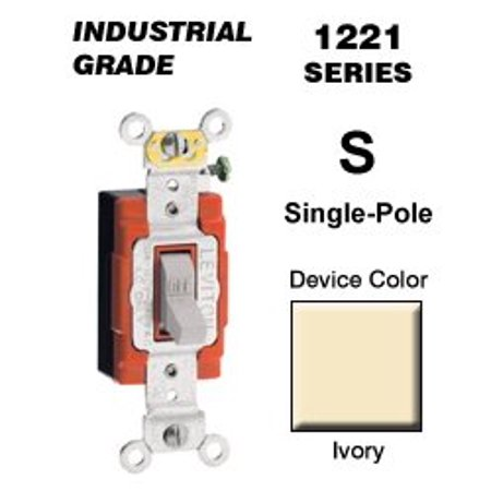Leviton 1221-2I 20-Amp, 120/277-Volt, Toggle Single-Pole AC Quiet Switch, Extra Heavy Duty Spec Grade, Self Grounding, Ivory