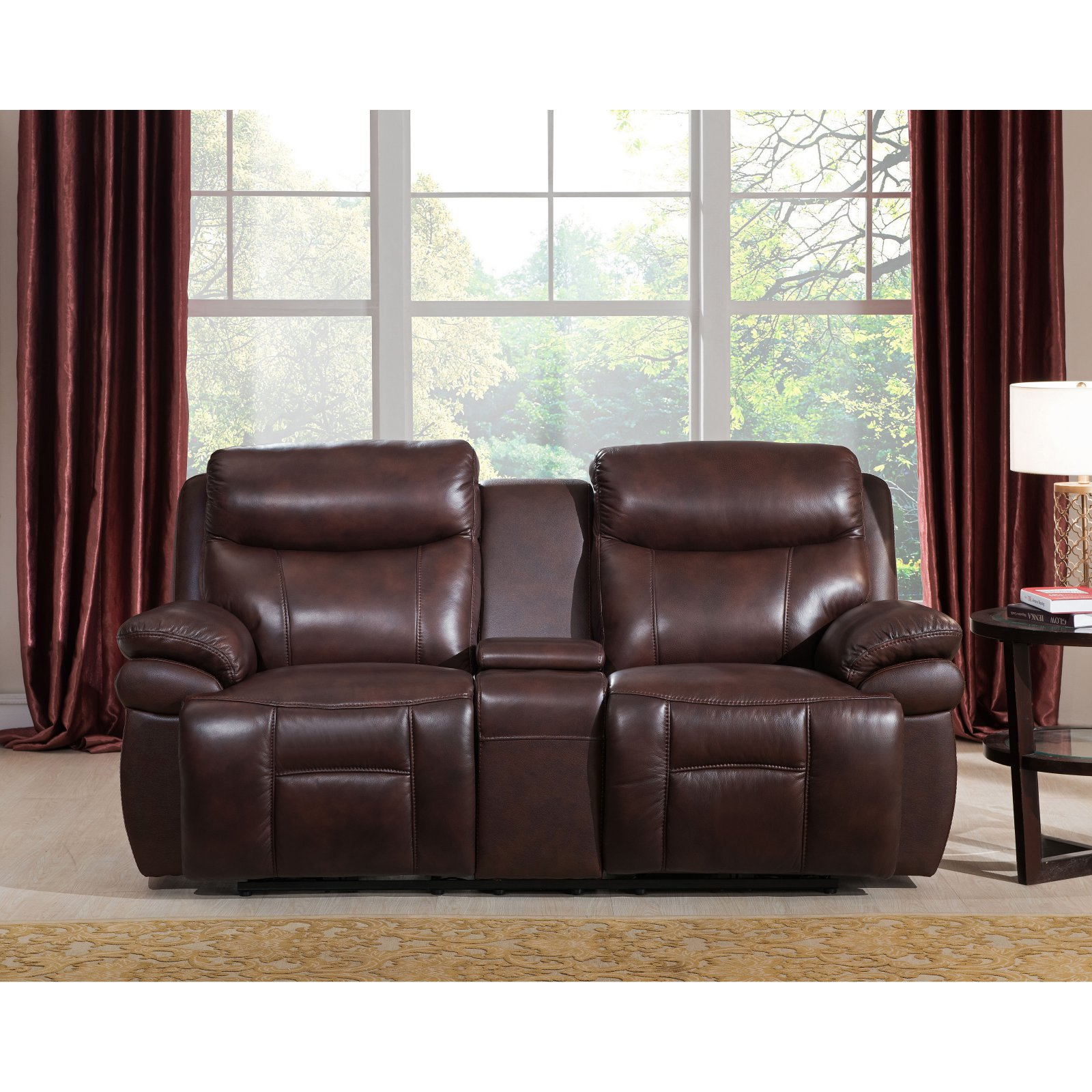 Amax Leather Summerlands II Top Grain Leather Power Reclining Loveseat