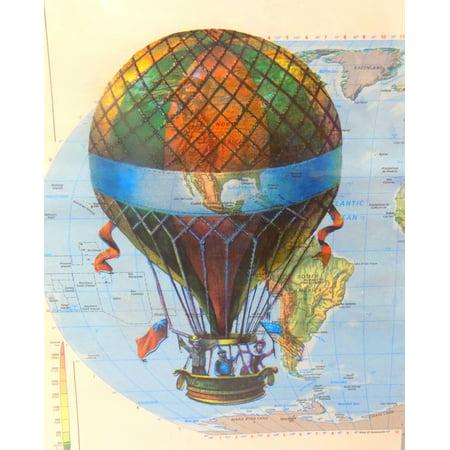 Art N Wordz Colorful Air Balloon Original Atlas Sheet Wall Pop Art Print