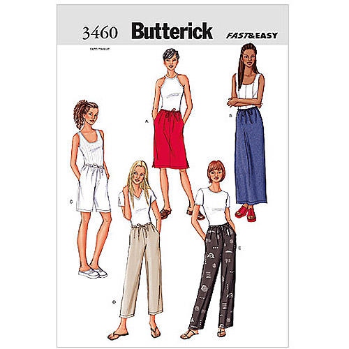 Butterick Pattern Misses' and Misses' Petite Skirt, Shorts and Pants, (20, 22, 24)