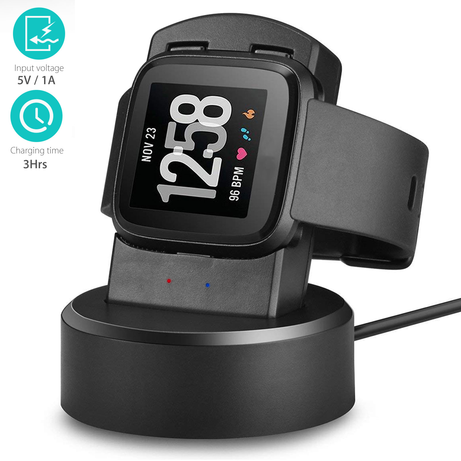 EEEKit Watch Charger For Fitbit Versa, Replacement Charging Cable Charger Dock Station for Fitbit Versa Smartwatch Fitness Tracker