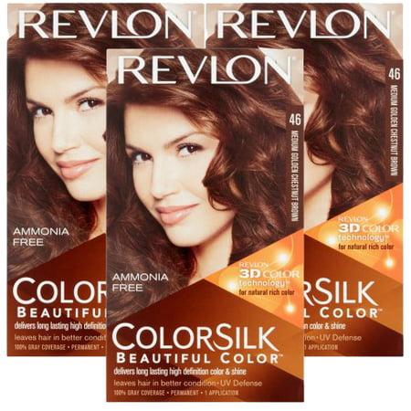 (3 Pack) Revlon Colorsilk Permanent Hair Color, Medium Golden Chestnut