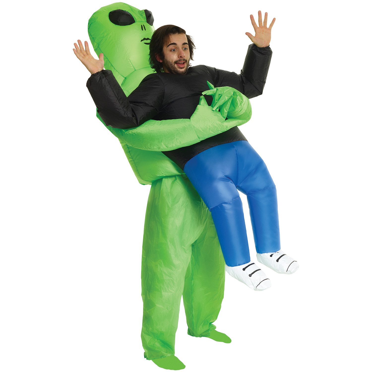 Adult Alien Abduction Pick Me Up Inflatable Men Costume, Green, One Size