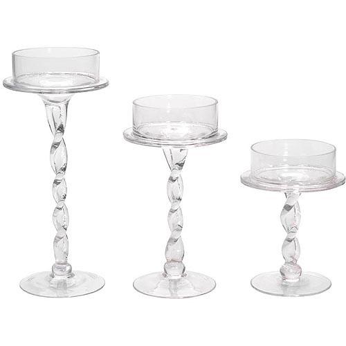 "10"" Glass Pillar Candle Holder"
