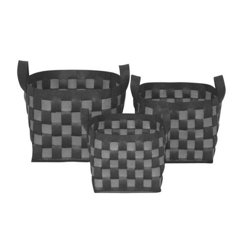 Wald Imports Two-toned Grey and Light Grey Thick Woven Wool Felt Storage Containers (Set of 3)