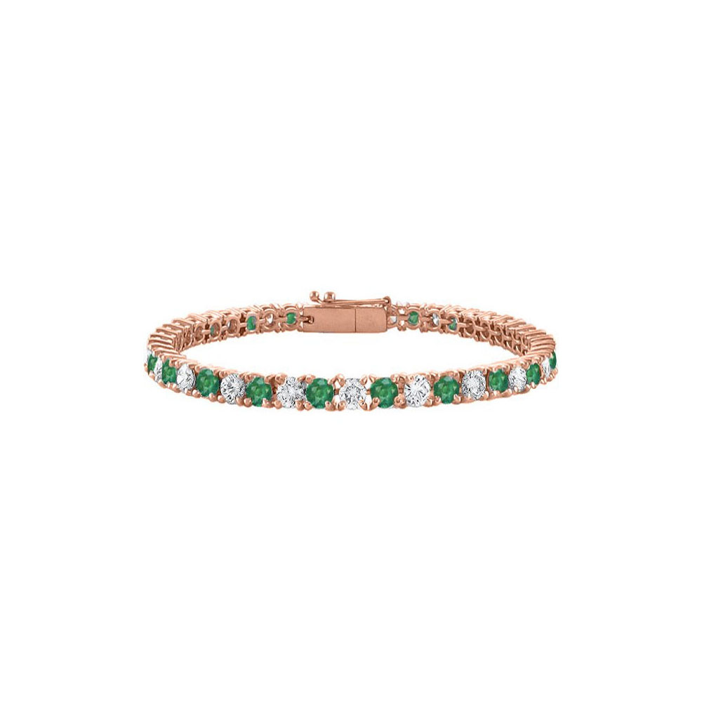 Tennis Bracelet Emerald Created and Cubic Zirconia in 14K Rose Gold Vermeil. 7CT. TGW. 7 Inch - image 2 of 2