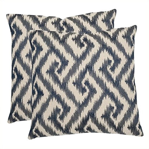 Safavieh Pillows Collection Teddy Decorative Pillow, 22-Inch, Blue, Set of 2 by
