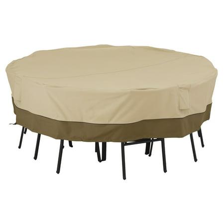 Classic Accessories Veranda Square Table and Chair Patio Furniture Storage Cover, Large, Pebble/Bark/Earth