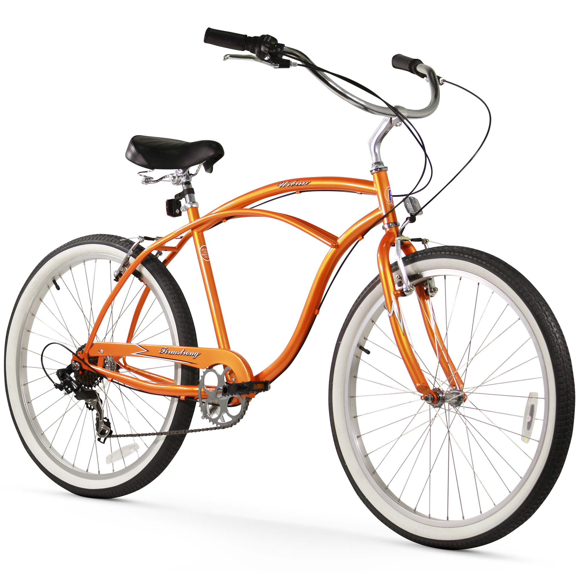 "26"" Firmstrong Urban Man Seven Speed Beach Cruiser Bicycle, Orange"
