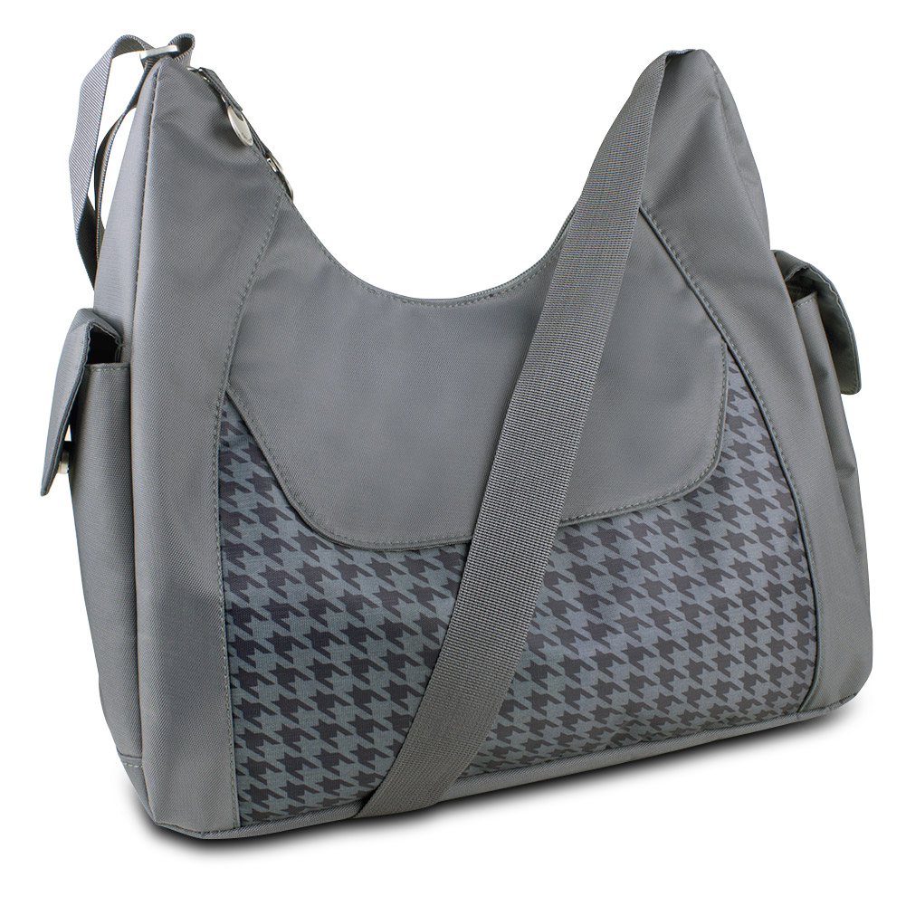 Travelon Hack-Proof Oversized Everyday Hobo Bag w/ RFID Protection, Houndstooth