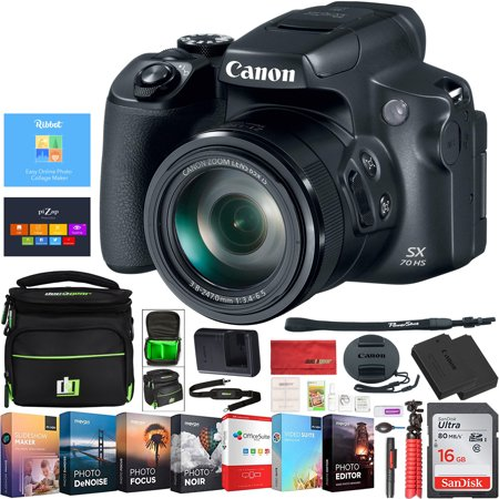 Canon PowerShot SX70 HS 20.3MP 65x Optical Zoom 4K Video Digital Camera 3071C001 Deco Gear Case and Photo Editing Pro - Zoom Gear