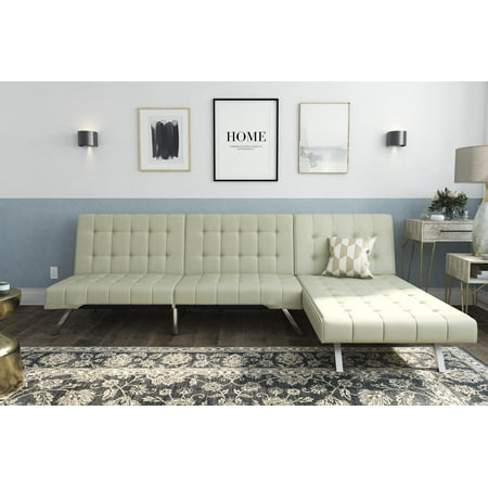 DHP Emily Sectional Futon Sofa Bed with Convertible Chaise Lounger, Modern Design with Sturdy Chrome Legs, Vanilla Faux Leather ()