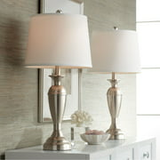 Regency Hill Modern Table Lamps Set of 2 Brushed Steel Metal White Drum Shade for Living Room Family Bedroom Bedside Nightstand