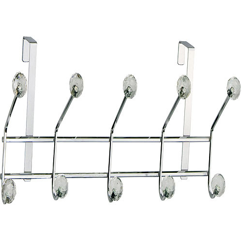 Elegant Home Fashions 5-Hook Over-the-Door Storage Unit, Clear Acrylic Jewel/Chrome