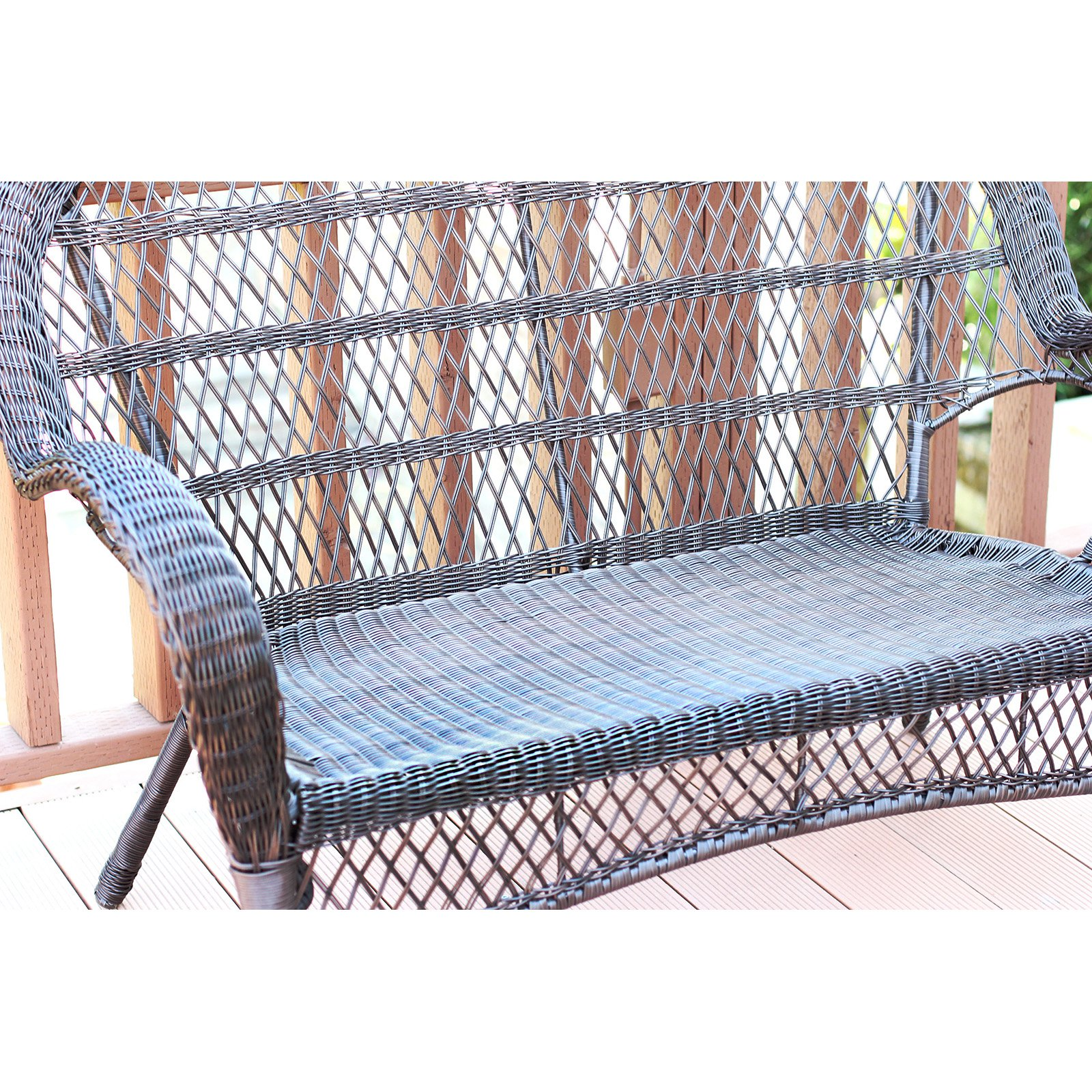 Jeco Santa Maria Wicker Loveseat Bench with Optional Cushion