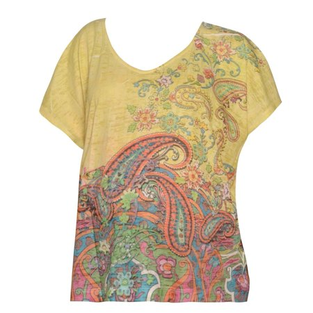 Pregnant Belly Fake (Love My Belly Women's Yellow Paisley Print Maternity Clothing Top One)