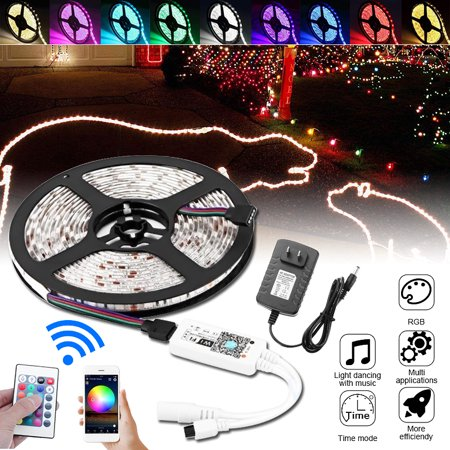 16 4ft LED Strip Light, Wifi Wireless Smart Phone Controlled 300 LED Strip  Light Kit RGB 3825SMD Work with Android IOS Alexa Google Home Waterproof