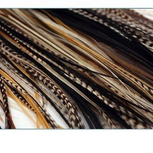 NEW 7-11 Feather Hair Extension Beige,Blond,Black,Browns & Grizzly Featehrs (5 Feathers Bonded At the