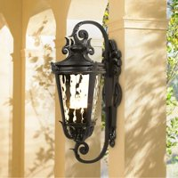 "John Timberland Mediterranean Outdoor Wall Light Fixture Textured Black Scroll 27 1/2"" Clear Hammered Glass for Porch Patio House"