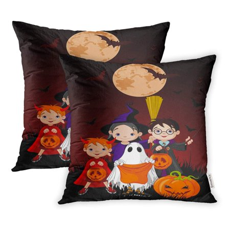 ARHOME Kids Halloween Children Trick Treating in Costume Artworks Band Boys Candy Pillowcase Cushion Cover 16x16 inch, Set of 2 - Halloween Artwork For Kids