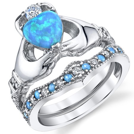 Blue Opal Wedding Set - Sterling Silver 925 Heart Shape Claddagh Engagement Ring Wedding Bridal Sets with Blue Simulated Opal