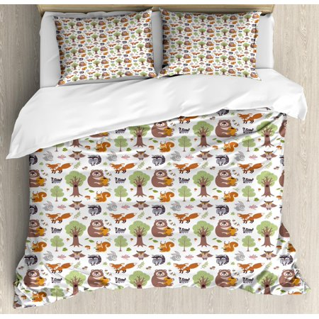 Harley Quinn Honey (Forest Duvet Cover Set Queen Size, Doodle Woodland Creatures as Honey Bear Rabbit Fox and Raccoon in Nature Habitat, Decorative 3 Piece Bedding Set with 2 Pillow Shams, Multicolor, by)