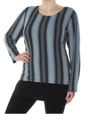 cec09efea263c Product Image ALFANI Womens Black Printed Long Sleeve Scoop Neck Top Plus  Size  3X