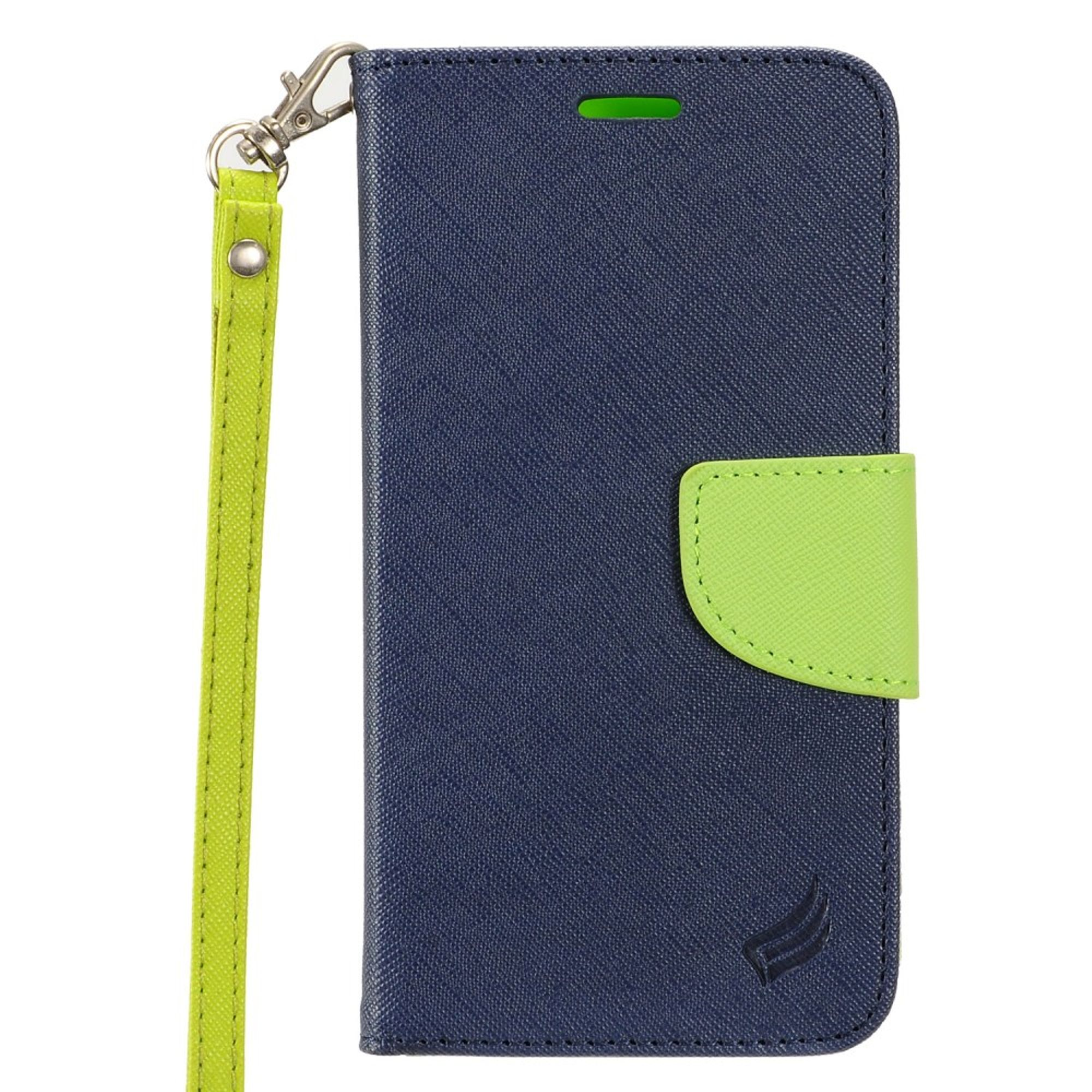 """Insten Folio Leather Fabric Stand Card Case Lanyard w/Photo Display for Apple iPhone 8 Plus / iPhone 7 Plus (5.5"""") - Blue/Green"""