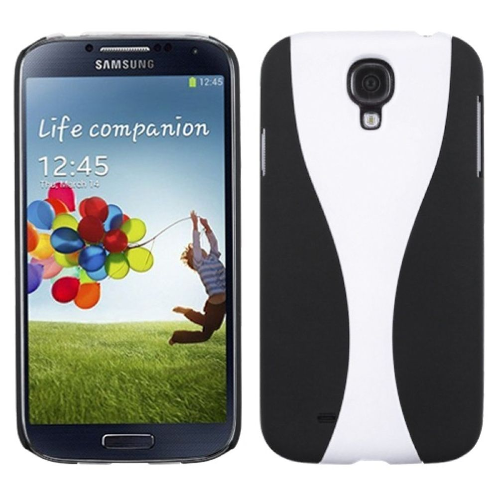 Insten White Black Wave Phone Back Case Rubberized For Samsung Galaxy S4 Zoom S Iv I9500