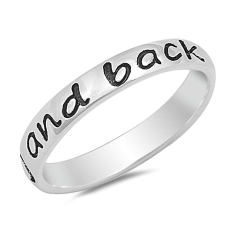 """Engraved """"I love you to the moon and back"""" Band .925 Sterling Silver Ring Sizes 4-10"""