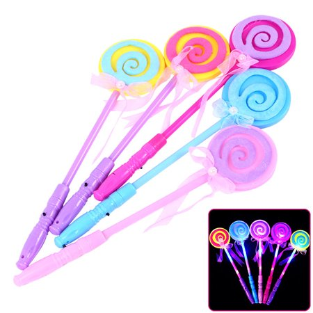 LED Light Up Wand 4Pcs Assorted Color 13inch Fairy Lollipop Hand Holder Glow Sticks for Kids Concert Party Favor Night Ball (Glow Stick Lollipops)