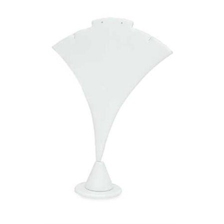 White Leather Earring Display Stand - White Faux Leather Earring and Necklace Display Stand - 7 ½ inch Fan-Shaped