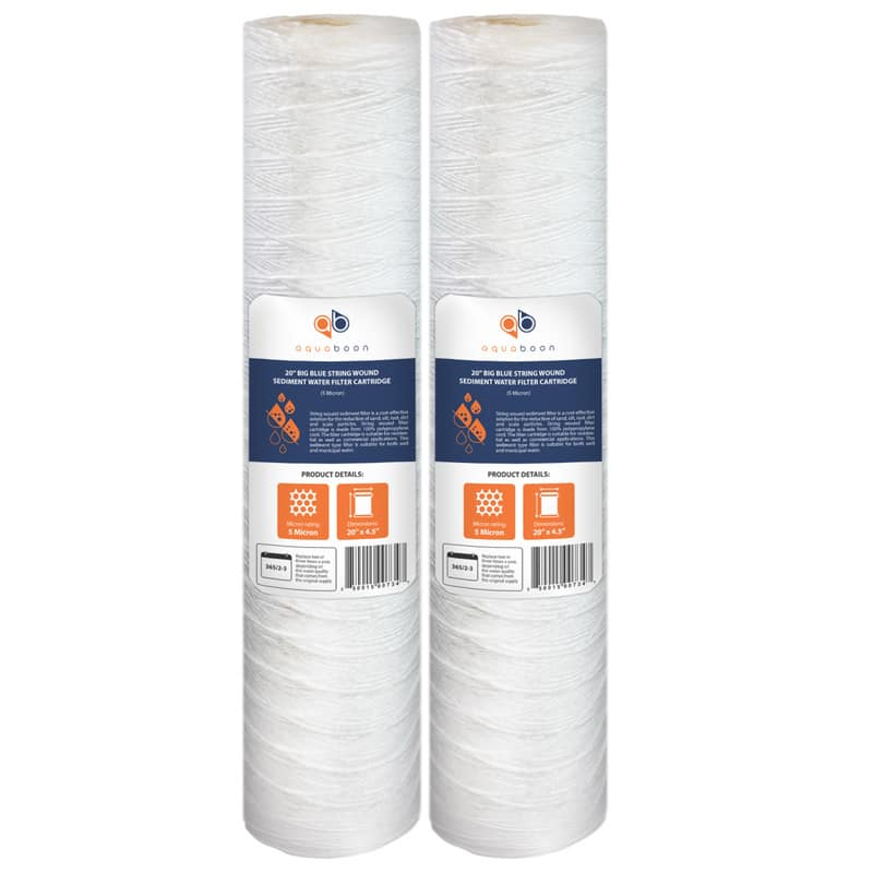 "2PK of 20"" Big Blue Whole House String Wound Sediment Water Filter Cartridge 5µm by Aquaboon"