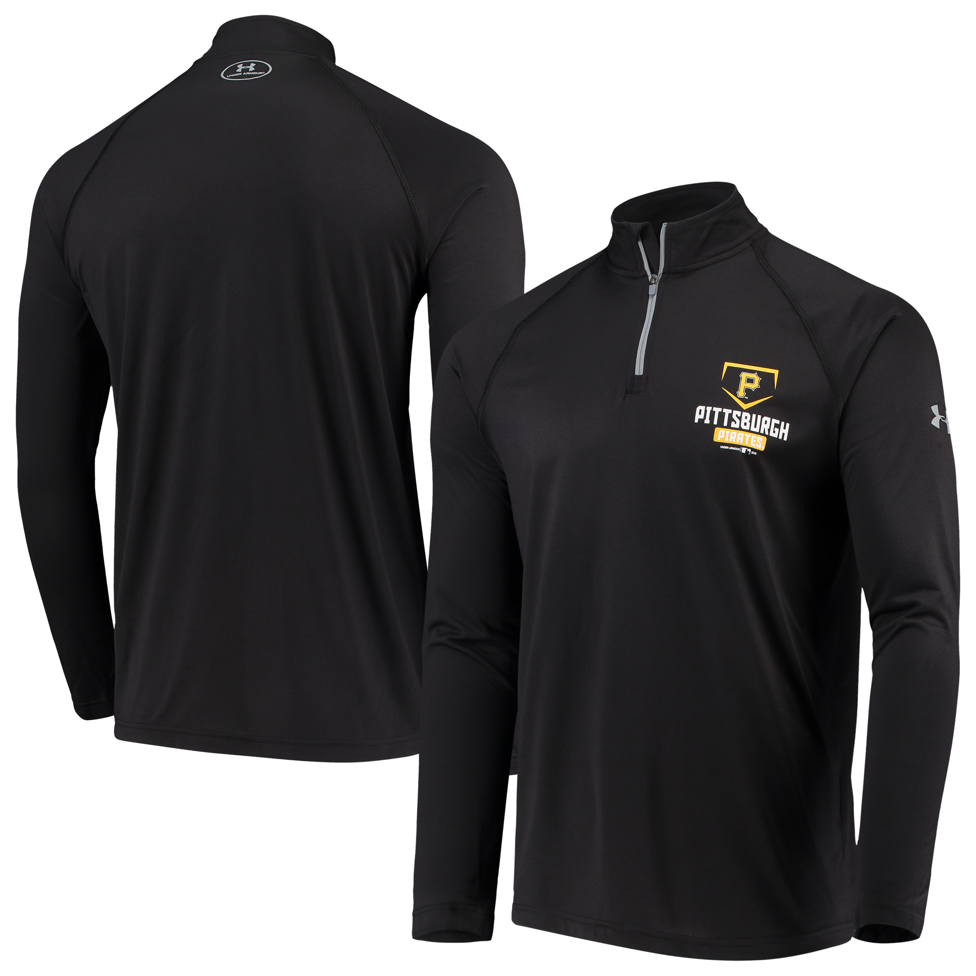 Pittsburgh Pirates Under Armour Tech Quarter-Zip Performance Pullover Jacket - Black