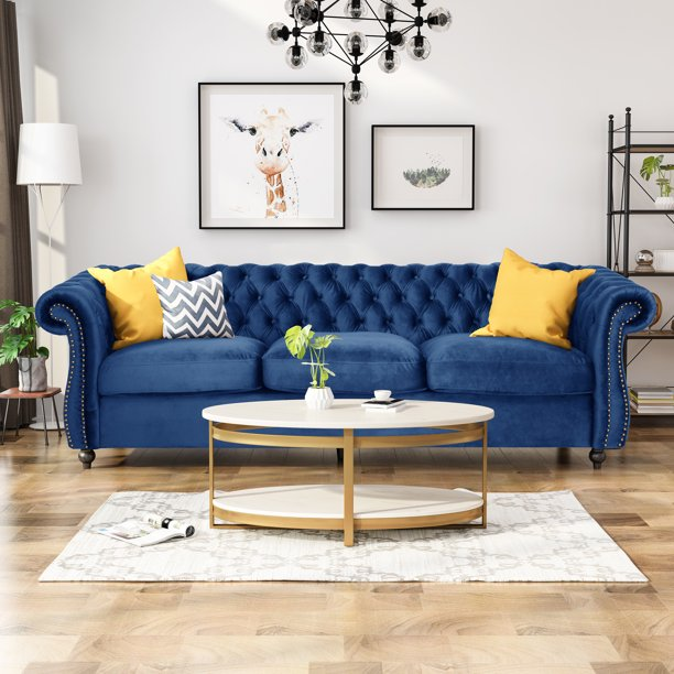Noble House Aaniya Chesterfield Velvet Tufted Jewel Toned Sofa With Scroll Arms Navy Blue Walmart Com Walmart Com