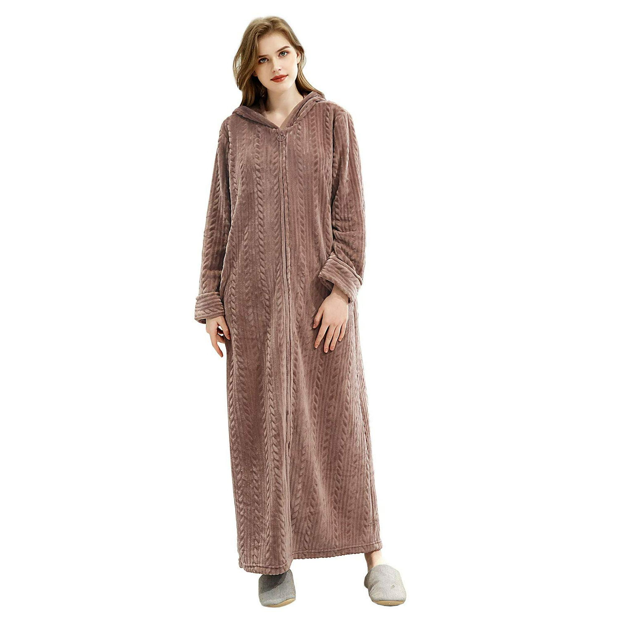 Omicgot Womens Robe Zipper Nightgown