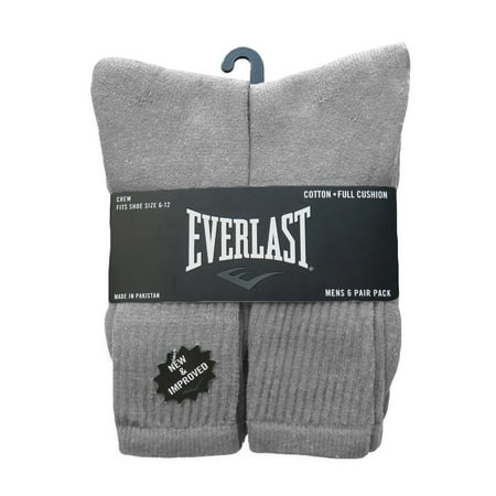 6 Pairs Everlast Men's Over The Calf Tube Socks Socks Size 10-13, Shoe Size 6-12 | (Grey)
