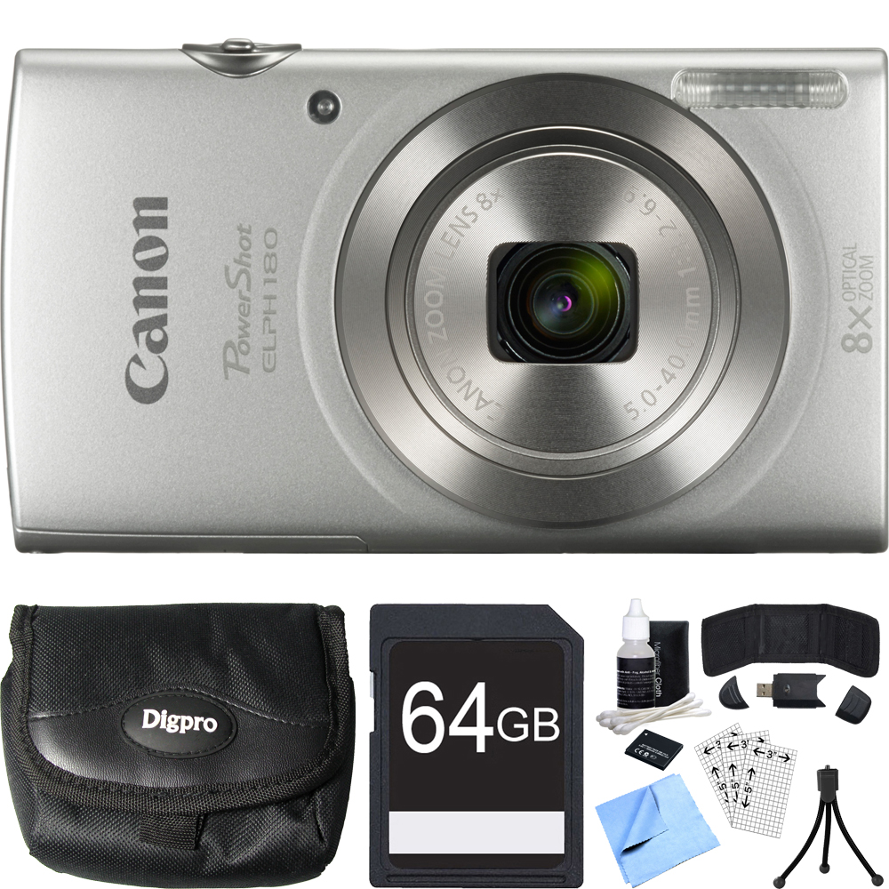 Canon PowerShot ELPH 180 20MP Silver Digital Camera 64GB Card Bundle includes Camera, 64GB Memory Card, Reader, Wallet, Case, Battery, Mini Tripod, Screen Protectors, Cleaner and Beach Camera Cloth