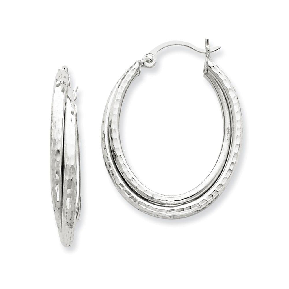 14k White Gold 0.6IN Long D/C Polished Oval Hoop Earrings