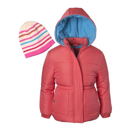 Pink Platinum Diamond Quilted Puffer Jacket with GWP Beanie Hat (Little Girls & Big - Light Pink Coat