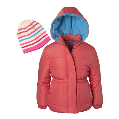 Little Girl Birthstone Charm - Pink Platinum Diamond Quilted Puffer Jacket with GWP Beanie Hat (Little Girls & Big Girls)