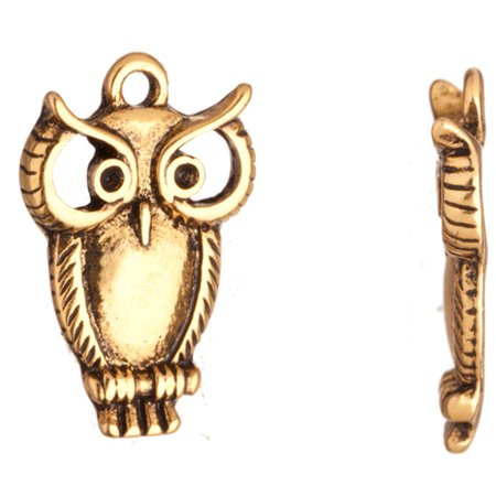 Charms, Antique-Gold Finished Owl Crystal Setting 22.7x15mm Fits 2pcs ss5/Pp11 Swarovski (Runcam Owl Plus Best Settings)