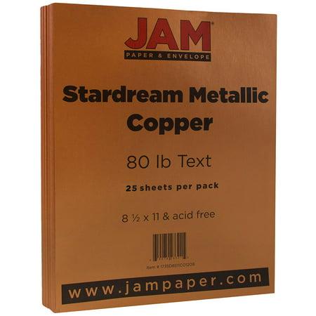 Copper Jam (JAM Paper Metallic Paper, 8.5 x 11, 32lb Copper Stardream Metallic, 25 Sheets/pack )