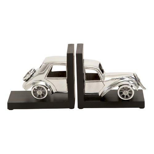 Decmode Aluminum Wood Bookend Pair, Multi Color by DecMode